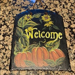 Slate Painted Fall Hanging Sign